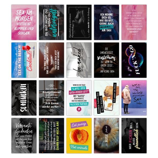 20er Postkarten-Spar-Set - SEX - DIN A6, 20 verschiedene Motive mit Sprüchen und Zitaten