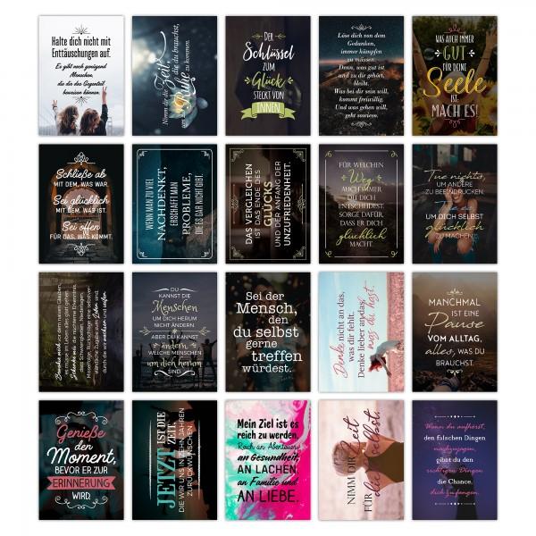 20er Postkarten-Spar-Set - Bleib wie du bist - DIN A6, 20 verschiedene Motive mit Sprüchen und Zitat