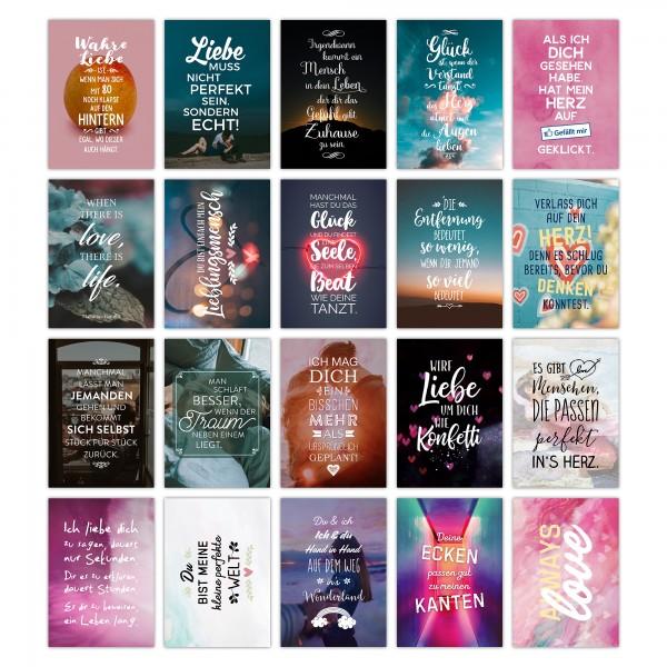 20er Postkarten-Spar-Set - LIEBE - DIN A6, 20 verschiedene Motive mit Sprüchen und Zitaten