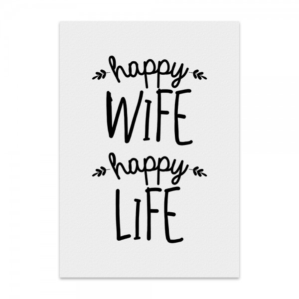 Kunstdruck, Poster - happy wife happy life