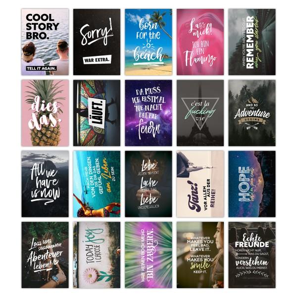 20er Postkarten-Spar-Set - LEBEN - DIN A6, 20 verschiedene Motive mit Sprüchen und Zitaten